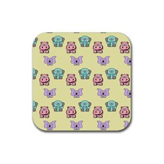 Animals Pastel Children Colorful Rubber Square Coaster (4 Pack)