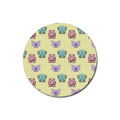 Animals Pastel Children Colorful Rubber Round Coaster (4 Pack)