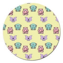 Animals Pastel Children Colorful Magnet 5  (round) by BangZart
