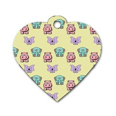 Animals Pastel Children Colorful Dog Tag Heart (one Side) by BangZart