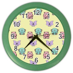 Animals Pastel Children Colorful Color Wall Clocks by BangZart