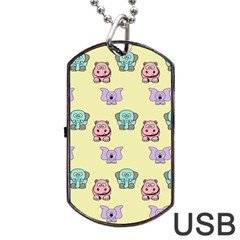Animals Pastel Children Colorful Dog Tag Usb Flash (one Side) by BangZart