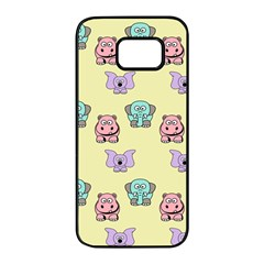 Animals Pastel Children Colorful Samsung Galaxy S7 Edge Black Seamless Case by BangZart