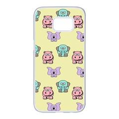 Animals Pastel Children Colorful Samsung Galaxy S7 Edge White Seamless Case by BangZart