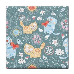 Cute Cat Background Pattern Tile Coasters