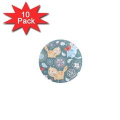 Cute Cat Background Pattern 1  Mini Magnet (10 Pack)  by BangZart
