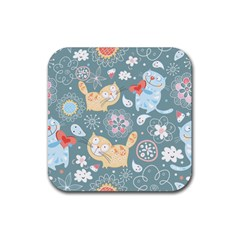 Cute Cat Background Pattern Rubber Coaster (square)  by BangZart