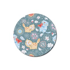 Cute Cat Background Pattern Rubber Coaster (round)  by BangZart