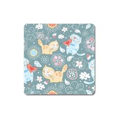 Cute Cat Background Pattern Square Magnet