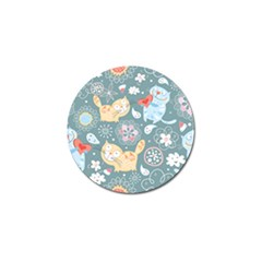 Cute Cat Background Pattern Golf Ball Marker by BangZart
