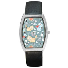 Cute Cat Background Pattern Barrel Style Metal Watch by BangZart