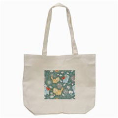 Cute Cat Background Pattern Tote Bag (cream) by BangZart