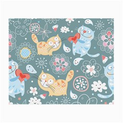 Cute Cat Background Pattern Small Glasses Cloth by BangZart
