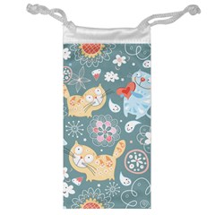 Cute Cat Background Pattern Jewelry Bag by BangZart