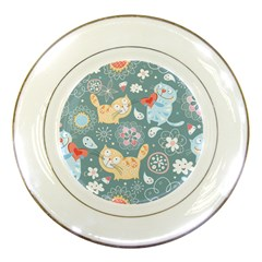 Cute Cat Background Pattern Porcelain Plates by BangZart