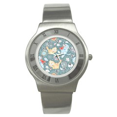 Cute Cat Background Pattern Stainless Steel Watch by BangZart