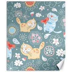 Cute Cat Background Pattern Canvas 8  X 10  by BangZart