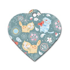 Cute Cat Background Pattern Dog Tag Heart (two Sides) by BangZart