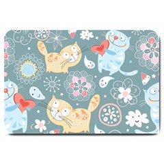 Cute Cat Background Pattern Large Doormat  by BangZart