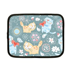 Cute Cat Background Pattern Netbook Case (small)