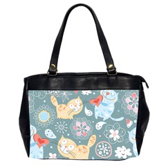Cute Cat Background Pattern Office Handbags (2 Sides)  by BangZart