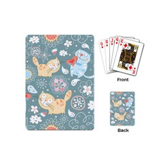 Cute Cat Background Pattern Playing Cards (mini)