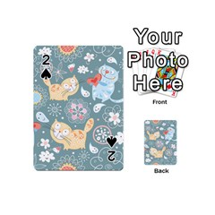 Cute Cat Background Pattern Playing Cards 54 (mini)  by BangZart