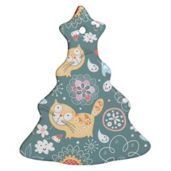 Cute Cat Background Pattern Christmas Tree Ornament (two Sides)