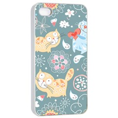 Cute Cat Background Pattern Apple Iphone 4/4s Seamless Case (white) by BangZart