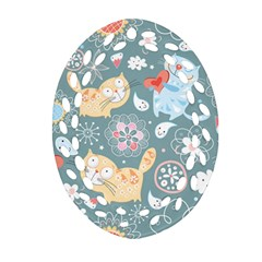 Cute Cat Background Pattern Ornament (oval Filigree) by BangZart