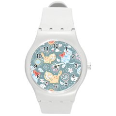 Cute Cat Background Pattern Round Plastic Sport Watch (m)
