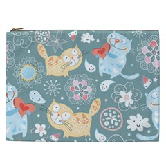 Cute Cat Background Pattern Cosmetic Bag (xxl)