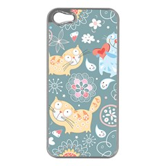 Cute Cat Background Pattern Apple Iphone 5 Case (silver)