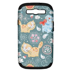 Cute Cat Background Pattern Samsung Galaxy S Iii Hardshell Case (pc+silicone) by BangZart