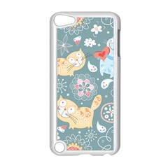 Cute Cat Background Pattern Apple Ipod Touch 5 Case (white) by BangZart