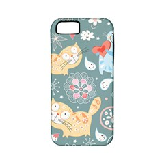 Cute Cat Background Pattern Apple Iphone 5 Classic Hardshell Case (pc+silicone)