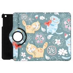 Cute Cat Background Pattern Apple Ipad Mini Flip 360 Case
