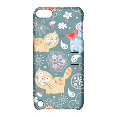 Cute Cat Background Pattern Apple Ipod Touch 5 Hardshell Case With Stand