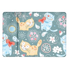 Cute Cat Background Pattern Samsung Galaxy Tab 10 1  P7500 Flip Case