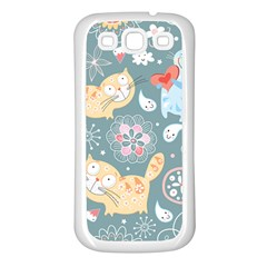Cute Cat Background Pattern Samsung Galaxy S3 Back Case (white) by BangZart