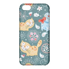 Cute Cat Background Pattern Apple Iphone 5c Hardshell Case by BangZart