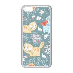 Cute Cat Background Pattern Apple Iphone 5c Seamless Case (white) by BangZart