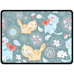 Cute Cat Background Pattern Double Sided Fleece Blanket (large)  by BangZart
