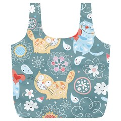 Cute Cat Background Pattern Full Print Recycle Bags (l)  by BangZart