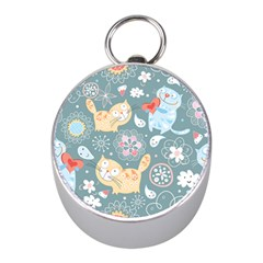 Cute Cat Background Pattern Mini Silver Compasses