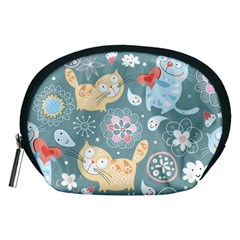 Cute Cat Background Pattern Accessory Pouches (medium)