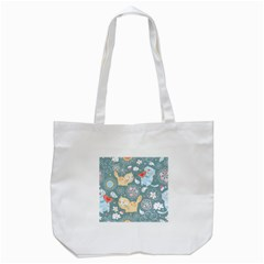Cute Cat Background Pattern Tote Bag (white) by BangZart
