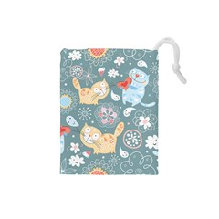 Cute Cat Background Pattern Drawstring Pouches (small)  by BangZart
