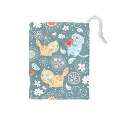 Cute Cat Background Pattern Drawstring Pouches (medium)