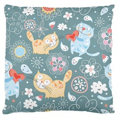 Cute Cat Background Pattern Large Flano Cushion Case (two Sides) by BangZart
